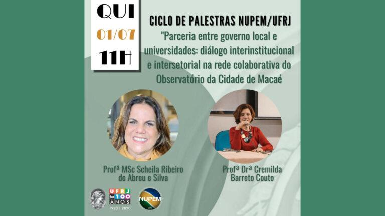 Ciclo de palestras do NUPEM quinta-feira (01/07) às 11h!